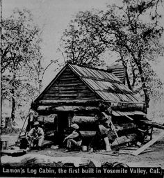 """Lamon's log cabin, the first built in Yosemite Valley, Calif."" Their work completed, two men sit on stumps in front of the finished product, ca. 1895"