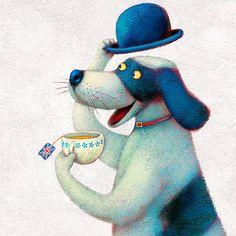 PAOLO DOMENICONI , Italian artist born in 1965 in Crevalcore (Bologna-Italy) Dogs - Tea - Art - Illustrations