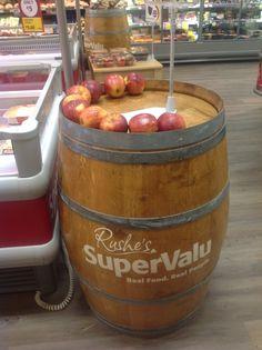 Supervalue personalized barrel done by RKD Floral Displays Wine Barrels, Display, Floral, Food, Floor Space, Billboard, Flowers, Essen, Meals