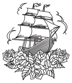 Thread Tattoos - Ship and Roses design (UTH6716) from UrbanThreads.com