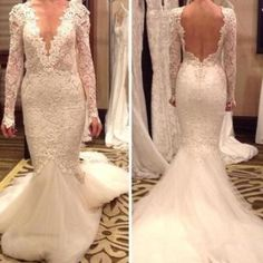 A495 fashionable vestido de novia wedding dresses sexy v neck backless applique real image lace long sleeve sheer open back bridal dresses gowns