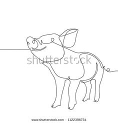Drawing Doodles Sketches One line drawing of pig, Black and white vector minimalistic hand drawn illustration - Pig Sketch, Doodle Sketch, Doodle Drawings, Cartoon Drawings, Animal Drawings, Pig Drawing, Vegan Tattoo, Simple Line Drawings, Pig Art