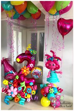 Barbie Birthday Party, Trolls Birthday Party, Troll Party, 2nd Birthday Parties, Balloon Display, Balloon Garland, Birthday Balloon Decorations, Birthday Balloons, Personalized Balloons