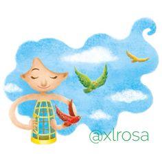 #illustration #digitalart #sky #birds #girl #freedom #peace #xlrosa #child #hair