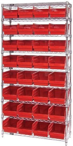 "Quantum Storage Systems WR9-208YL 9-Tier Complete Wire Shelving System with 32 QSB208 Yellow Store-More Bins, Chrome Finish, 18"" Width x 36"" Length x 74"" Height by Quantum. $617.71. Genuine Quantum modular wire systems offer a unique combination of shelf and post sizes in a variety of finishes to compliment any application. The split sleeve and grooved numbered posts allow for easy and quick assembly. The all welded shelf construction is supported with architectural wire truss..."