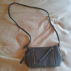 Mini gray crossbody purse Just big enough to fit phone, wallet, keys and a little makeup. Express Bags Crossbody Bags