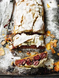 This Croatian sour cherry strudel from Rick Stein's From Venice to Instanbul is an excellent store-cupboard dish: tinned cherries, walnuts and frozen filo pastry combine to create an easy, fuss-free, delicious Christmas dessert. Croatian Cuisine, Croatian Recipes, Hungarian Recipes, Strudel Recipes, Bread Recipes, Croissants, Filo Pastry, Flaky Pastry, Christmas Desserts