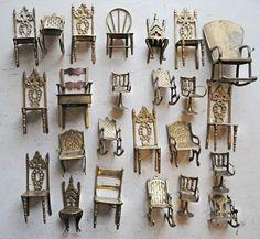 Miniature Vintage Chair Display! Mr. Finch Textile Art
