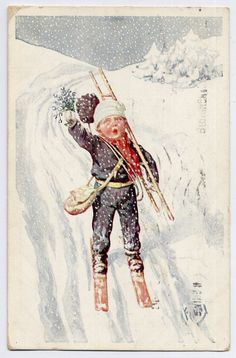 Boy on Skis in the Snow vintage Christmas Greetings Artist Signed Postcard picclick.com