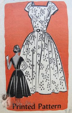 1950s Cocktail Party Dress Pattern Square Neckline, Very Low V Back  Figure Show Off  Fitted Bodice, Flared Skirt Anne Adams 4675 Vintage Sewing Pattern Bust 34