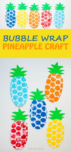 Bubble wrap pineapple craft for kids to try this summer. Easy and fun paper craft for preschoolers, kindergartners and older kids.   at Non-Toy Gifts