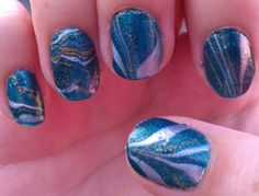 The Sparkle Queen:  Water Marble Nail Art