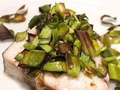 Simple recipe for roasted leek greens (I added a little Creole seasoning, with good results).