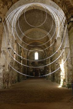 Felice Varini - anamorphic illusions, this is an un retouched photograph, the artist paints over walls and windows in a way that when looked at from a certain angle it appears there are shapes floating in the air