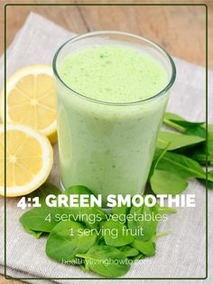 Green Smoothie | 4 Servings of Vegetables and 1 Serving of Fruit www.healthylivinghowto.com