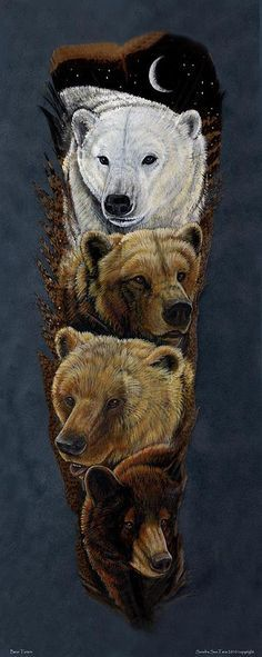 Bear Totem Feather Print of the original by Sandra SanTara. Beautiful print of the original painted feather fan featuring a Polar Bear, Kodiak Bear, Grizzly Bear, and Black Bear Totem Feather Painting, Feather Art, Native Art, Native American Art, Ours Grizzly, Bear Totem, Bear Paintings, Animal Spirit Guides, Image Nature