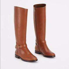 """Ann Taylor Joni leather boot brown darkCaramel 5.5 brand new in box. never opened. bought directly from Ann Taylor website.  Endlessly sleek, these buckled beauties are impeccably constructed with luxe leather for timeless sophistication. Rounded toe. Adjustable ankle buckle. Inside zip. Elasticized inset at inside top edge. Padded footbed for complete comfort. 1"""" heel. 14 1/2"""" shaft with 15 1/2"""" shaft circumference, measured from a size 6. With each half size up or down, circumference…"""