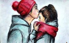 cute #draw #couple #kiss
