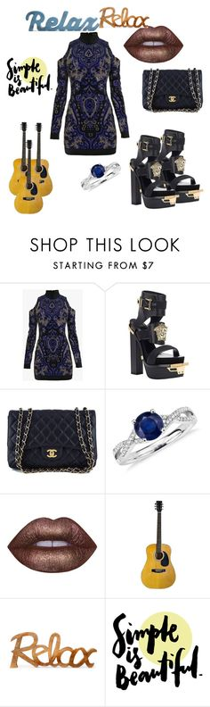 """Versace,Chanel"" by dzenita-2190 on Polyvore featuring moda, Balmain, Versace, Chanel, Blue Nile i Lime Crime"