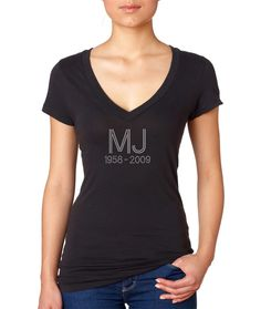 In the sweet memmories of the most admired singer Michael Jackson is this MJ Memorial Rhinestone T Shirt. Wear this Michael Jackson T shirt to honor him.