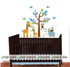 Blue Themed Chevron Wall Decal with  Elephant, Giraffe and Monkey Decals perfect for Baby Boy Nursery Decor