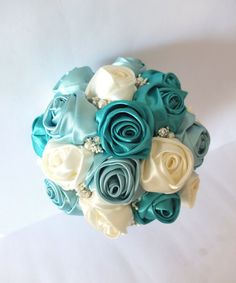 Handmade Ribbon Rose Bouquet- Ivory & Teal Flower accented with rhinestone (Large, 8-9 inch)