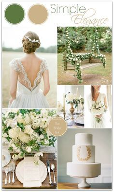 gold and moss green wedding colors since my wedding dress is gold and has green moss down the back!