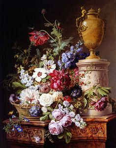 Gerard van Spaendonck, Still Life of Flowers in a Basket, 1787 Early Dutch artists captured the many textures, stone, wood, the softness of flowers.  One work I've seen included ribbon which one would think was real, and butterflies.  F