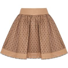 RED Valentino Leather and tulle mini skirt ($295) ❤ liked on Polyvore featuring skirts, mini skirts, bottoms, saias, faldas, neutral, zipper skirt, beige tulle skirt, beige skirt and leather skirt
