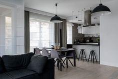 Pokój dzienny z kuchnią   tryc.pl #interiors #livingroom #tryc #modern #kitchen #jadalnia #interiordesigner Interior S, Interior Design, Modern Furniture, Minimalism, Living Room, Kitchen, Warsaw, Home Decor, Flat