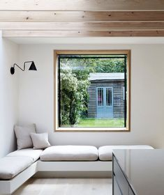 Studio 1 Architects were approached to realise this remarkable residential conversion for a Clapham terraced house. The soft palette of exposed brick, timber, juxtaposed with light from the skylights gives this property warmth, character and drama. Home Room Design, Home Office Design, Living Room Designs, Living Spaces, House Design, Modern Window Design, Modern Windows, Modern Window Seat, Arched Cabin