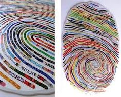 Encinitas, Caifornia based artist Cheryl Sorg creates elaborate collages from cutting out words from books. Inspired by tales of obsessive pursuit like Moby Dick, The Odyssey and Lolita, Sorg uses words to re-create the ridges of a fingerprint,. High School Art Projects, Art Projects For Adults, 7th Grade Art, Fingerprint Art, Magazine Collage, Art Education, Museum Education, Writing Art, Identity Art