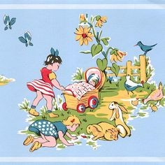 Playtime Border 1960s style wallpaper border with children playing outside on blue background
