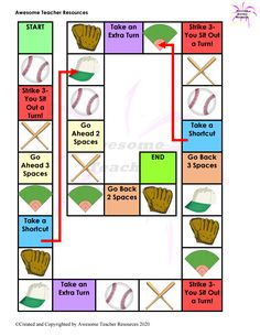 Use this baseball themed board game with flashcards or any other card you have. You can also use it in conjunction with dice, playing cards, or dominoes for students to practice their math facts. This provides a fun way for students to reinforce skills. Blank Game Board, Board Games, Math Facts, Baseball Games, Elementary Music, Music Classroom, Music Lessons, Best Teacher, Teacher Resources