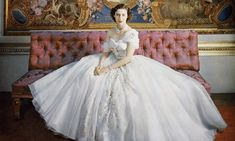 Princess Margaret on her 21st Birthday in a Christian Dior Haute Couture gown, 1951