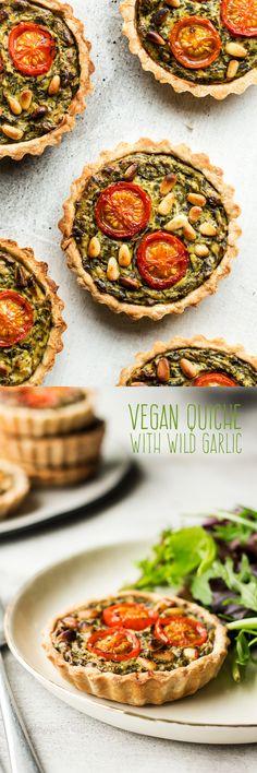 #quiche #vegan #wildgarlic #ramsons #veganquiche #glutenfree #egglessquiche #healthy