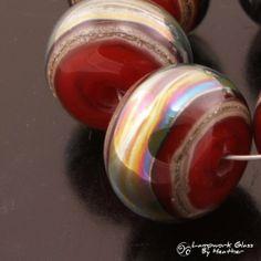 Lampwork Beads Handmade Glass Metallic Red by HeatherBehrendtGlass, $35.99