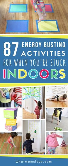 Best Active Indoor Activities For Kids Fun Gross Motor Games and Creative Ideas For Winter snow days Spring rainy days or for when Cabin Fever strikes Awesome Boredom B. Rainy Day Activities For Kids, Indoor Activities For Toddlers, Indoor Activities For Kids, Infant Activities, Children's Day Activities, Kid Games Indoor, Rainy Day Games, Crafts For Rainy Days, Creative Activities For Children