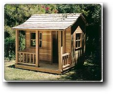 Playhouse Woodworking Plans. I'd like to miniturize it, and put it in a tree - only about 5' up for our size dog. Of course it'll need a deck in the trees too, so she can keep cool in an airy, shady place so she can keep an eye on everything.