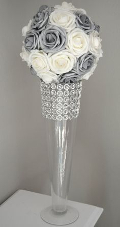 SILVER And WHITE Flower Ball, Wedding CENTERPIECE, flower ball, pomander. Real Touch Roses. Flower Girl. Pick Your Size