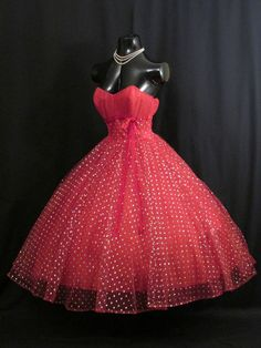 1950's strapless red tulle metallic party dress