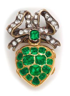Victorian Late Georgian emerald, diamond, silver and gold heart pendant and locket.