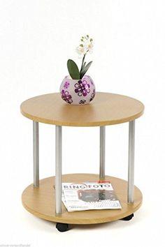 Beistellwagen Beistelltisch Tisch Rund buche 12013
