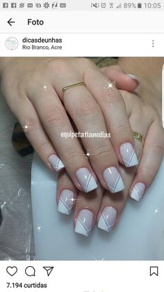New Ideas for nails sencillas decoradas French Nails, French Manicure Nails, Manicure E Pedicure, Nails French Design, Elegant Nail Designs, Elegant Nails, Stylish Nails, Nail Art Designs, Bride Nails