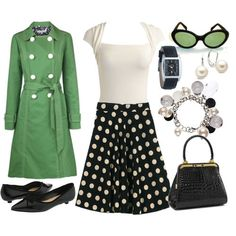 Poka dots+love the green trench paired with the black and white:)