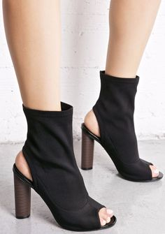 98b4ebd83c408a Open Peep Toe Bootie Lycra Elastic Pull On Ankle Block Heel CAPE ROBBIN  Connie