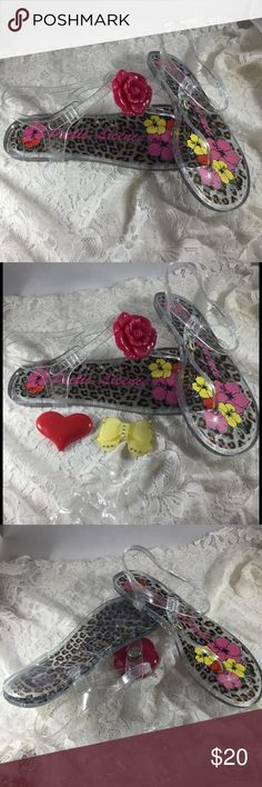 Clear Jelly Jangle Sandals with Three Accents Clear Sandals with three snap on accent....red rose,  red heart, and yellow bow.   Never worn....look and are brand new! POETIC LICENCE Shoes Sandals