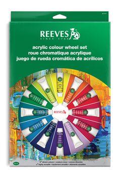 Art Shed Online - Reeves 18 Pc Acrylic Colour Wheel Paint Set - Paint, Brushes, Palette Paint Color Wheel, Colour Wheel, Art Shed, Learning Colors, Paint Set, Acrylic Colors, Artist Painting, Color Mixing, Palette