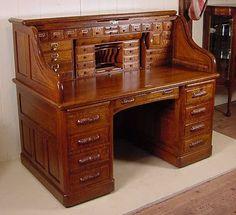 "Top of the line 60"" Quartered Oak Roll top Desk w/ full Interior"