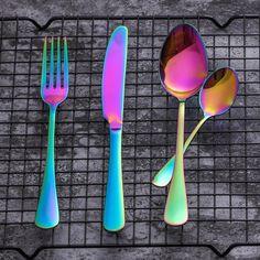 Lekoch Stainless Steel Rainbow Cutlery Set Dinnerware Set Western Food Cutlery Tableware Dinnerware Set Christmas Gift-in Dinnerware Sets from Home & Garden Vintage Cutlery, Flatware Set, Unique Mirrors, Western Food, Take You Home, Decoration Design, Dinner Sets, Dinnerware Sets, Room Themes